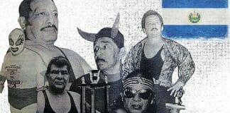 Legends of El Salvador Wrestling: Mr. Flama, Bucanero, Sordo Mudo Cruz, Diablo Rojo, El Satánico, and Tulipan Negro.