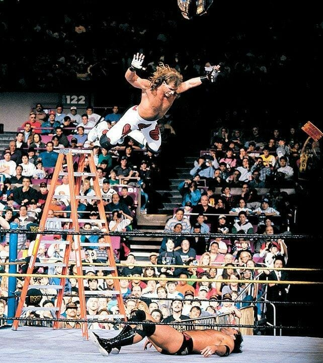 Shawn Michaels stunned the crowd with his daredevil leap from the top of the ladder onto Razor Ramon at WrestleMania X.