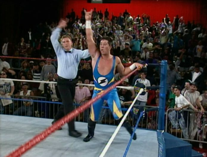 """""""The Kid"""" Sean Waltman reacts after his shocking win over Razor Ramon on May 17th, 1993's episode of Monday Night Raw."""