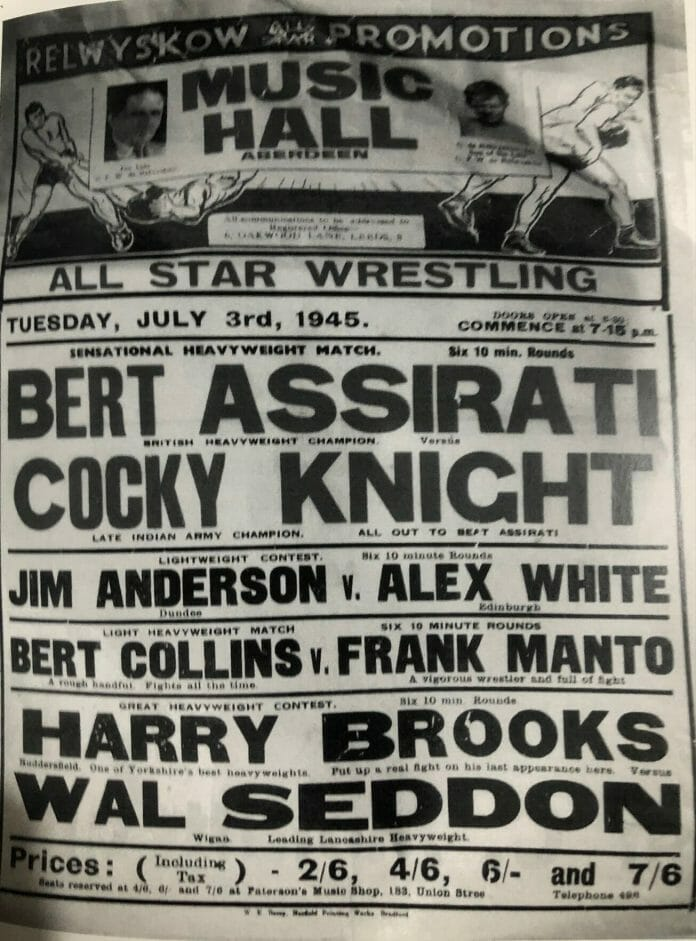 All Star Wrestling promotional poster from July 3rd, 1945, featuring the headlining match of British Heavyweight Champion Bert Assirati vs. Chick 'Cocky' Knight.