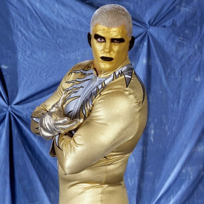 Dustin Rhodes described the very first makeup Goldust used as being all gold with two black circles over his eyes and painted black ears.