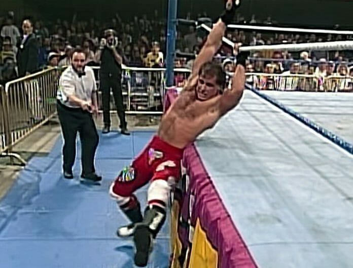 Shawn Michaels hangs on for dear life at the 1995's Royal Rumble pay-per-view.