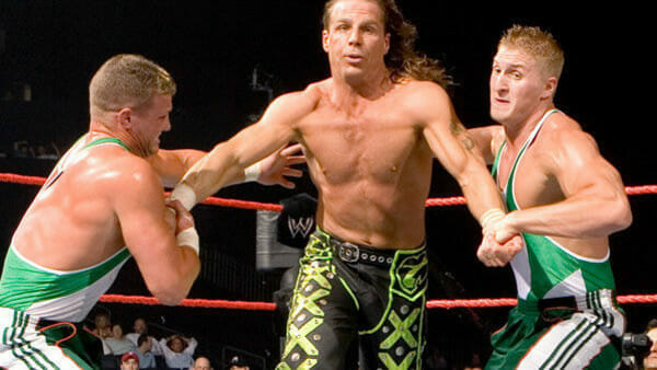 The Spirit Squad facing off against Shawn Michaels of DX in 2006.