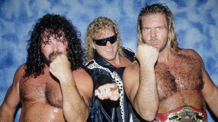 The Fabulous Freebirds Jimmy Garvin and Michael 'PS' Hayes with manager DDP (middle) in WCW in 1991.