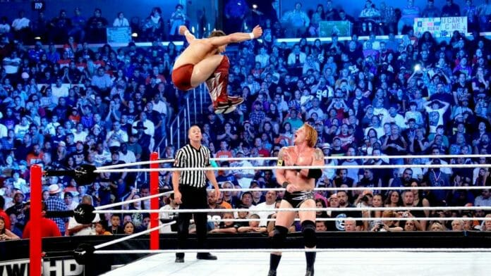 Heath Slater moments before being hit by a top rope dropkick by Daniel Bryan at the 2010 SummerSlam pay-per-view.