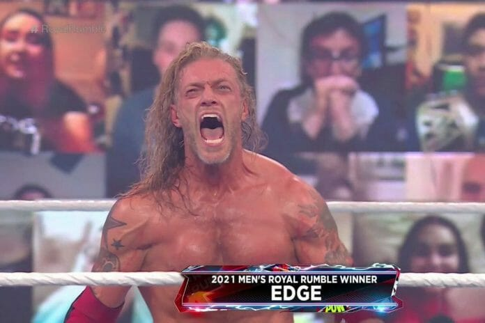 Edge celebrates his victory at the 2021 Rumble Rumble.