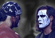 Hulk Hogan and Sting face off at WCW Starrcade 1997.