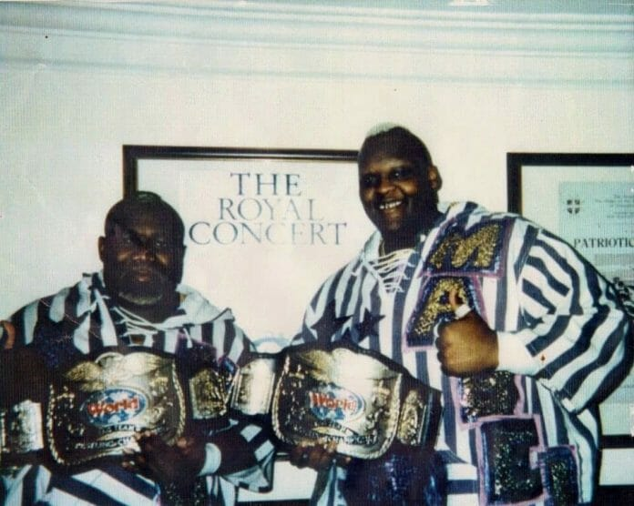 Men on a Mission, seen here backstage in London's Royal Albert Hall, held the WWF Tag Team Championships for two days.