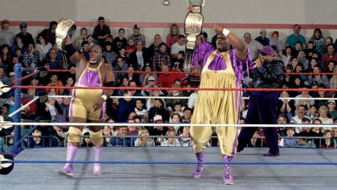 Men on a Mission (with Oscar on the mic in the background) held the WWF Tag Team Championships for two days until dropping them back to the Quebecers in Sheffield, England. Still, it was one of the team's highlights in the WWF.