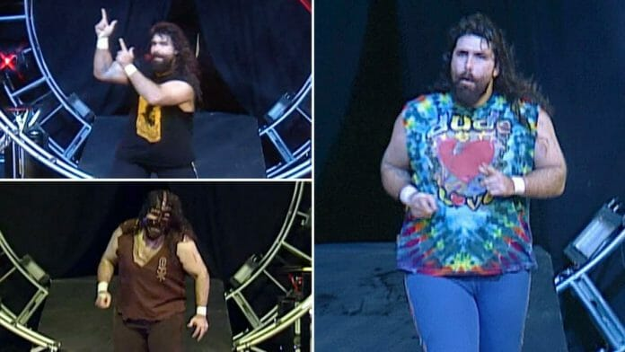 The three faces of Mick Foley enter the 1998 Royal Rumble match.