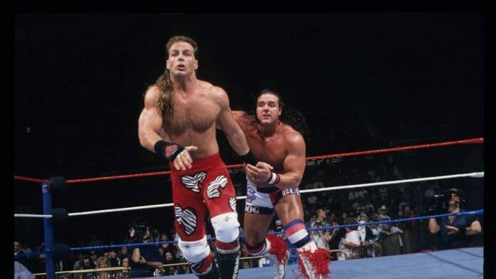 """Shawn Michaels and """"The British Bulldog"""" Davey Boy Smith at 1995's Royal Rumble pay-per-view."""