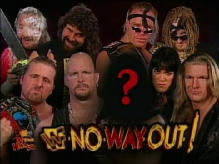 Advertising for the WWF In Your House: No Way Out of Texas pay-per-view, with a teased mystery man.