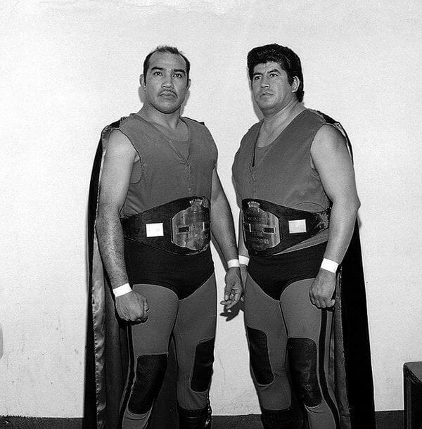 Known as The Red Devils, Black Gordman and The Great Goliath (left) held the NWA Americas Tag Team Championships an incredible 18 times.