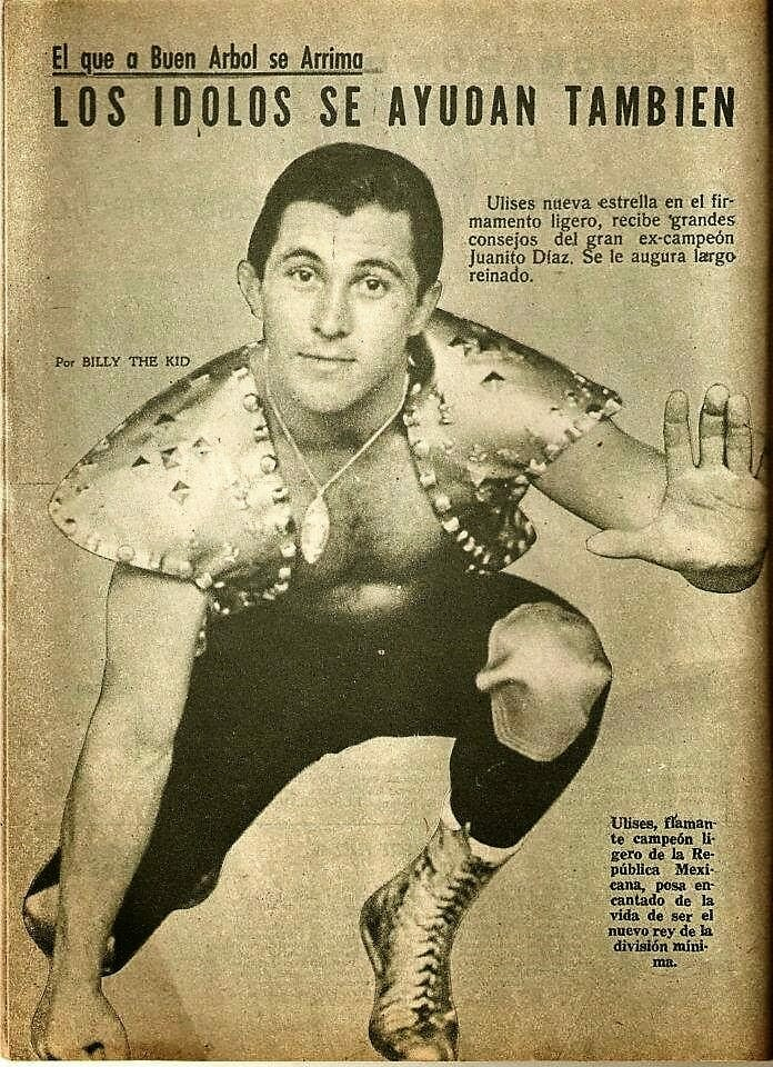 Delfino Espíndola Serrano as Ulises after he won the Mexican National Lightweight Championship with the help of Juanito Diaz. Diaz took him under his wing to defeat the rival heel Chanoc. The magazine predicted a long reign, but it was not to be.