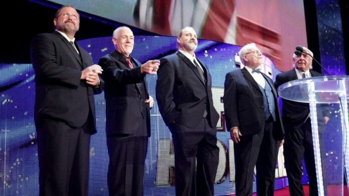 Arn Anderson, Tully Blanchard, Barry Windham, JJ Dillon, and Ric Flair (while still under TNA contract) at the 2012 WWE Hall of Fame.
