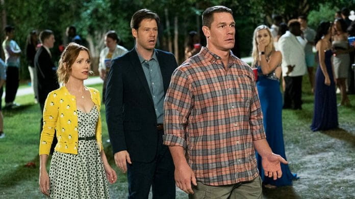 John Cena in the movie Blockers. 20 years of professional wrestling prepared him for a Hollywood career.