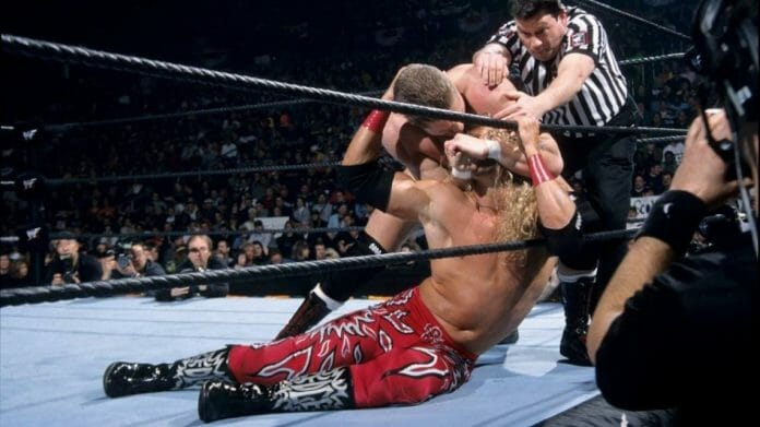 William Regal wrestling Edge at the 2002 Royal Rumble. This is where Regal would win his first-ever Intercontinental Championship.