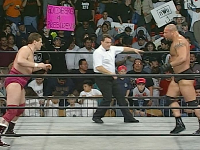 Things got stiff between Lord Steven Regal and Goldberg when they faced off on February 9th, 1998's episode of WCW Monday Nitro.