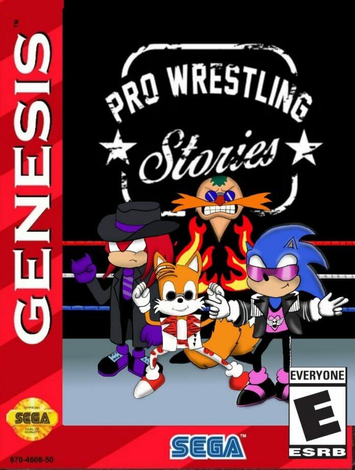 "Our favorite Sega Genesis tough guys: Knuckle-taker, ""The Heartbreak Kid"" Tails Michaels, Dr. ""Bam Bam"" Robotnik, and Sonic ""The Hitman"" Hedgehog. [Photo design: Tim Buckler]"