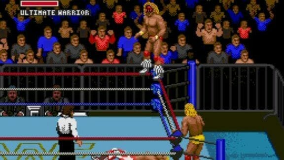The Ultimate Warrior on the top rope in WWF Super WrestleMania for the Sega Genesis / Mega Drive (1992).