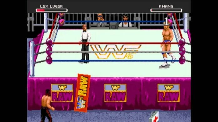 Lex Luger and Kwang face off in WWF Raw for Sega 32x.