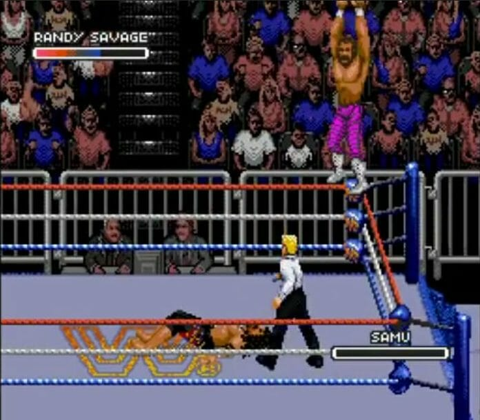 Randy Savage faces Samu in the WWF Rage in the Cage video game.