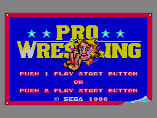 The Pro Wrestling video game start screen on the Master System (1987).
