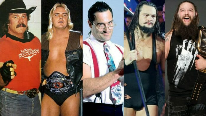 "The Windham / Rotunda Wrestling Family: Blackjack Mulligan, Barry Windham, Mike ""IRS"" Rotunda, Bo Dallas, and Bray Wyatt."