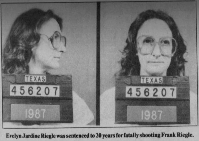 A 1987 mugshot photo of Evelyn Stevens after she was charged in the death of Frank Riegle.