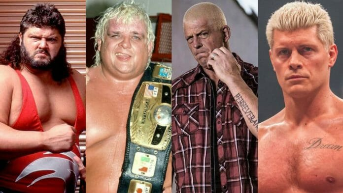 Fred Ottman (formerly known as Typhoon, Tugboat, and The Shockmaster), Dusty Rhodes, Dustin Rhodes, and Cody Rhodes.
