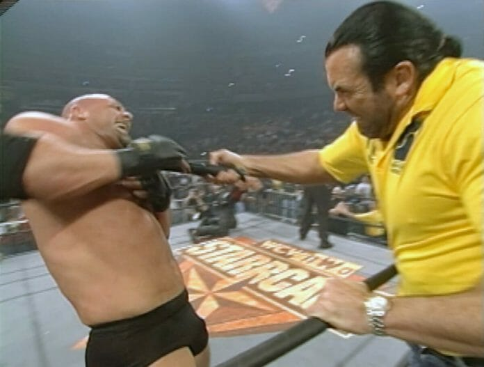 Scott Hall stuns Goldberg moments before Kevin Nash capitalizes for the win at WCW Starrcade 1998.