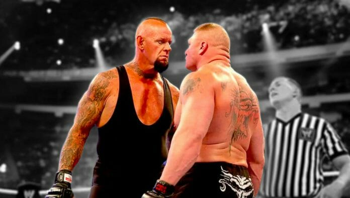Undertaker and Brock Lesnar stare each other down just prior to their history-changing match at WrestleMania 30.