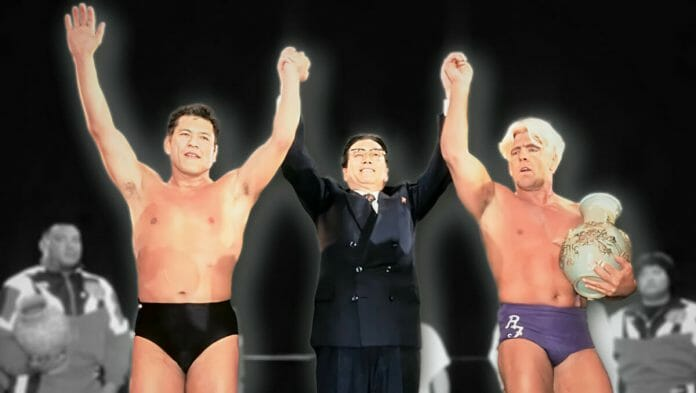 Antonio Inoki and Ric Flair in front of a crowd of 190,000 (or 165,000, depending on the source) in Pyongyang, North Korea back on April 29th, 1995.