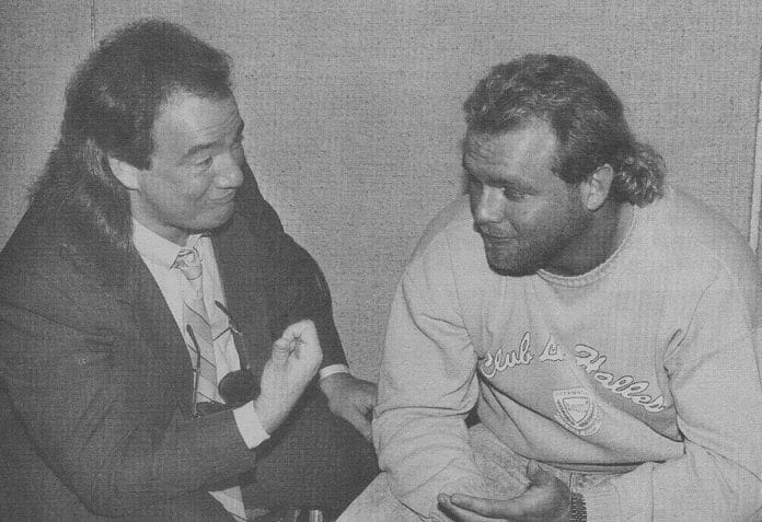 """Friends, but not to the end, Paul Heyman and """"Hot Stuff"""" Eddie Gilbert."""