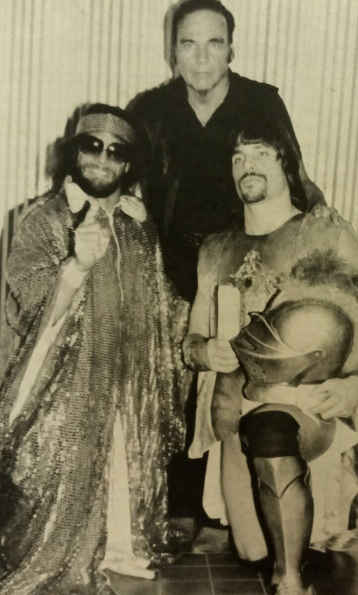 Angelo Poffo (center) with his sons, Macho Man Randy Savage and Leaping Lanny Poffo.