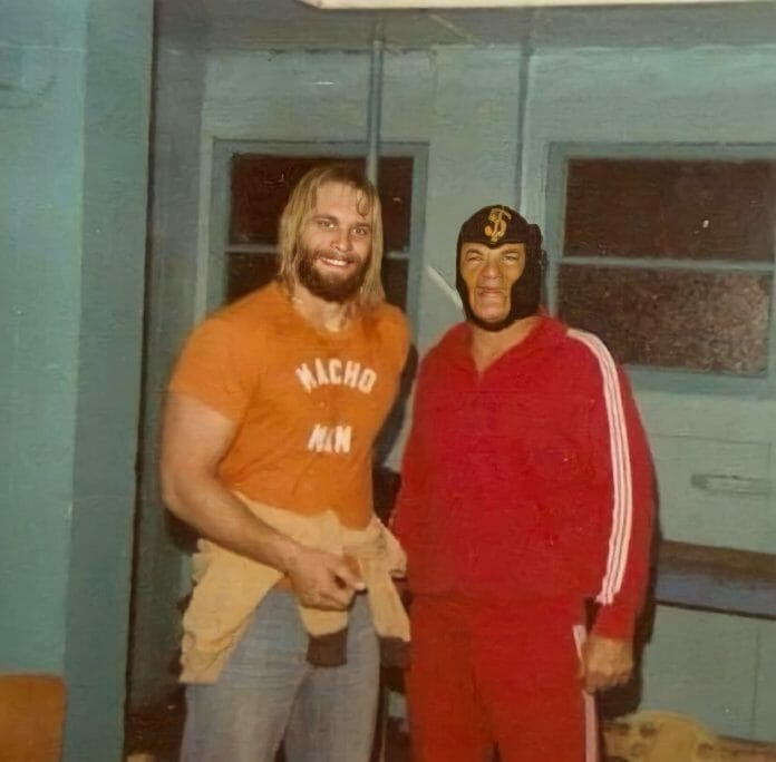 """Macho Man Randy Savage with his father, """"The Miser"""" Angelo Poffo, in ICW."""