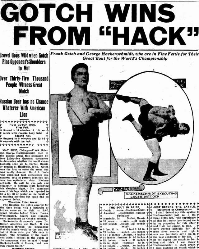 A newspaper article detailing the rematch between Gotch and Hackenschmidt.