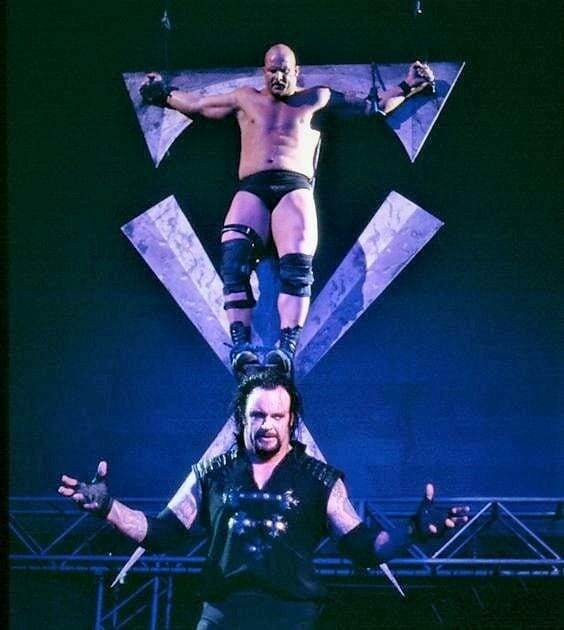 WWE seemed to take Sandman's crucifixion and gave it their own twist while not explicitly referring to it as a crucifixion.