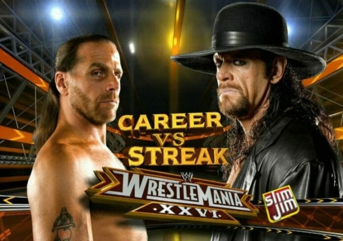 Shawn Michaels vs. The Undertaker, career vs. streak, almost didn't happen due to burns sustained to the Undertaker.