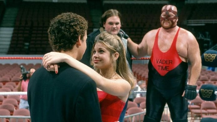 """In November 15, 1996's episode of Boy Meets World, Corey Matthews danced with his girlfriend Topanga in a WWF ring on her 16th birthday as Frankie and his """"dad"""" Big Van Vader looked on."""