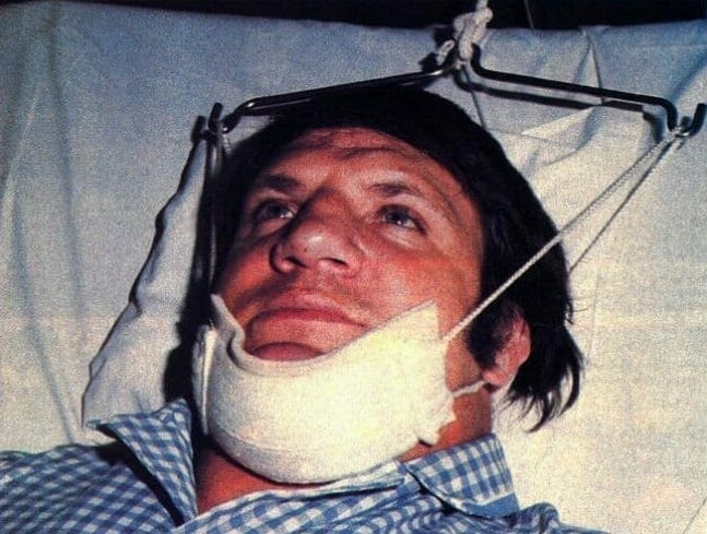 A not so golden moment. Bruno Sammartino after breaking his neck at the hands of Stan Hansen in 1976.
