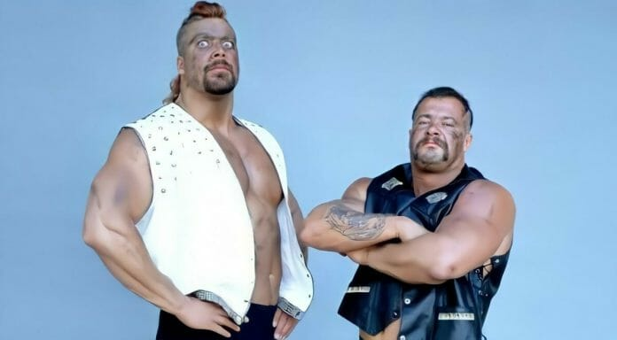 Kevin Nash and Al Green as part of the short-lived WCW tag team The Master Blasters in 1990.