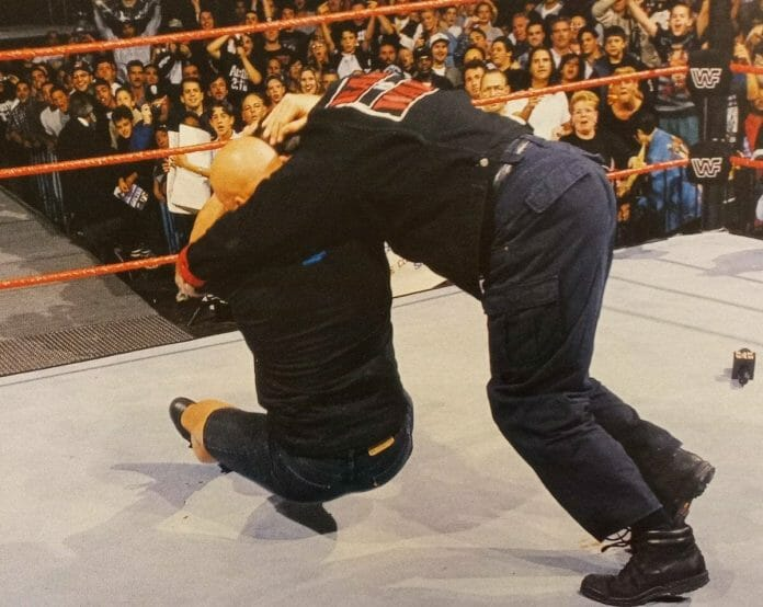 Stone Cold Steve Austin delivers the very first Stone Cold Stunner on Vince McMahon in 1997.