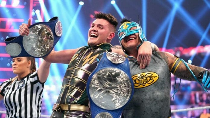 Father and son WWE Tag Team Champions: Dominik and Rey Mysterio.
