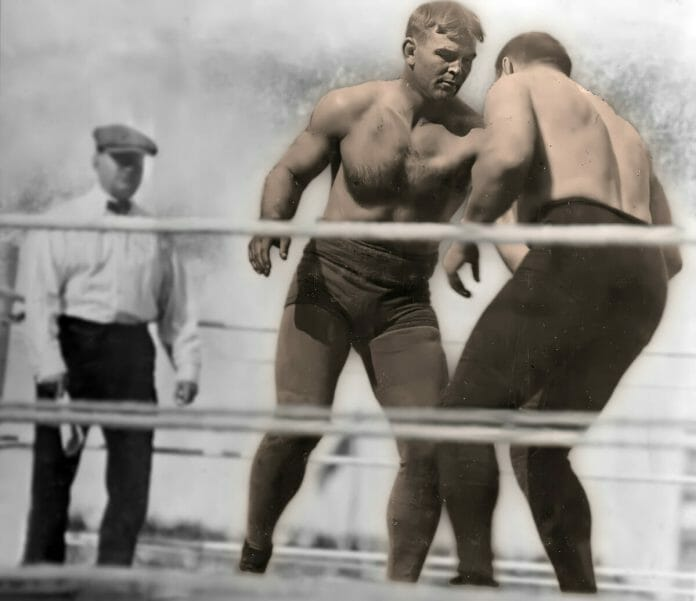 Frank Gotch advancing upon George Hackenschmidt in the rematch at Comiskey Park on September 4th, 1911.