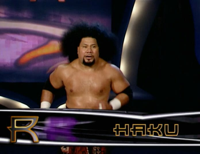 Haku makes a surprise appearance as entrant number 29 at the 2001 Royal Rumble.