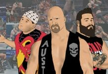 From Mickey Whipwreck, Steve Austin, Kevin Owens, and beyond, this is the neck-cracking history of the Stunner! [Photo artwork/design: Tim Buckler]