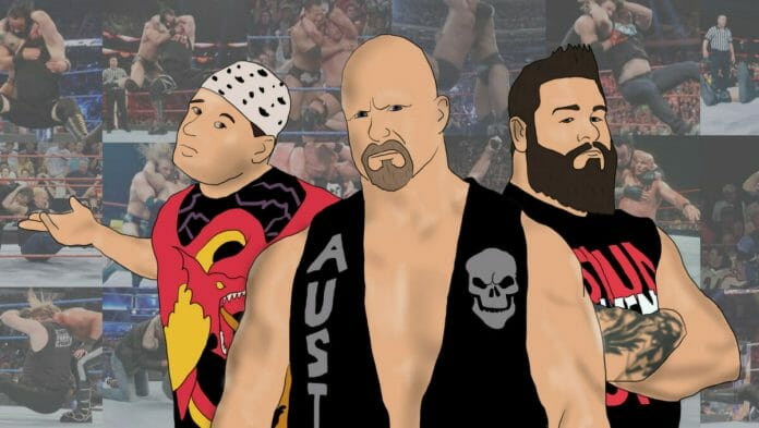 From Mikey Whipwreck, Steve Austin, Kevin Owens, and beyond, this is the neck-cracking history of the Stunner! [Photo artwork/design: Tim Buckler]