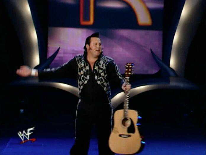 Honky Tonk Man makes a surprise appearance at the 2001 Royal Rumble.