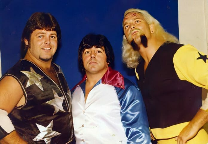 """Jerry """"The King"""" Lawler, """"Superstar"""" Bill Dundee, and """"The Boogie Woogie Man,"""" """"Handsome"""" Jimmy Valiant."""